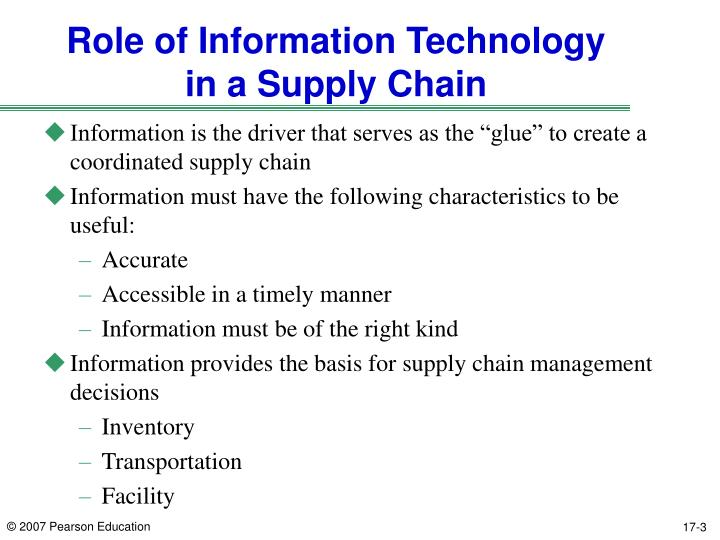 role of logistics in supply chain management information technology essay As recently as 20 years ago, supply chain management was seen as something   at the same time, roles and responsibilities within companies have expanded   when the information is shared in real-time, it allows teams to adapt and  change  management, reverse logistics, and supply chain execution.