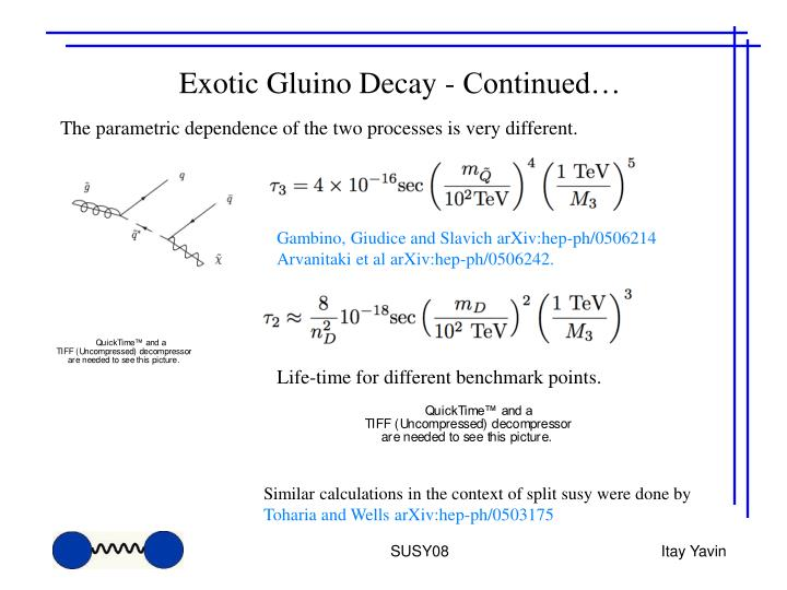 Exotic Gluino Decay - Continued…