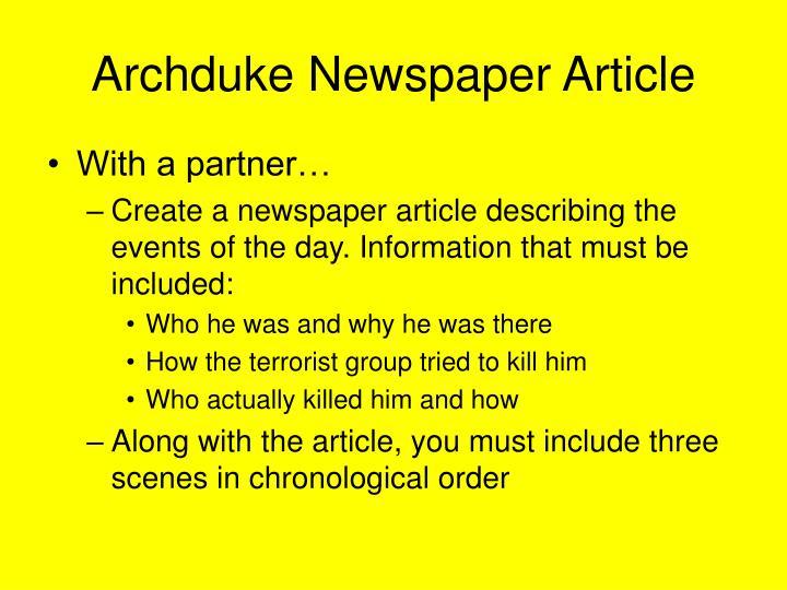 Archduke Newspaper Article
