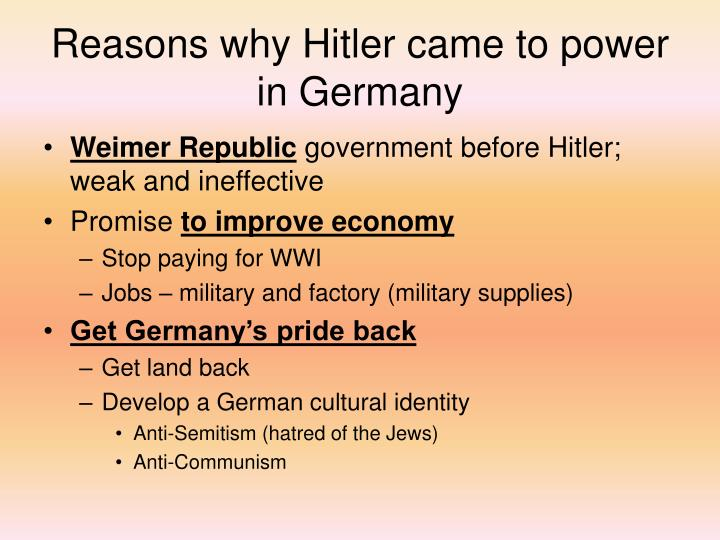 Reasons why Hitler came to power in Germany