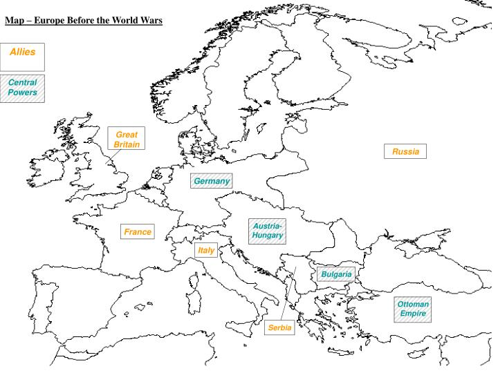Map – Europe Before the World Wars