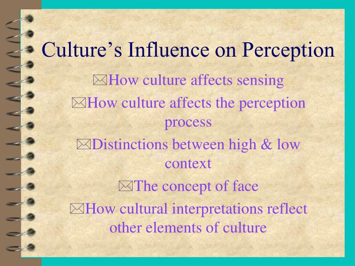 cultural influences on perception How does culture influence how an individual perceives their world this lesson looks at how culture influences perception by defining the terms.