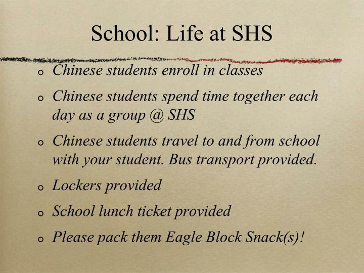 School: Life at SHS