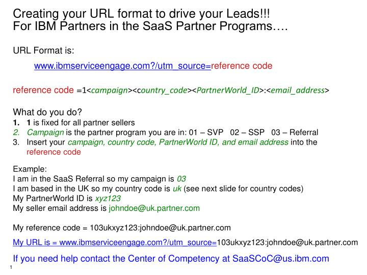 creating your url format to drive your leads for ibm partners in the saas partner programs