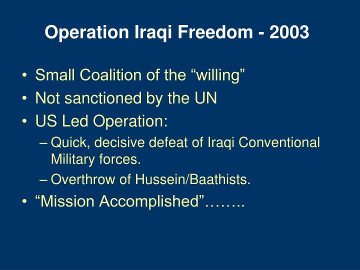 Operation Iraqi Freedom - 2003