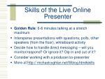skills of the live online presenter
