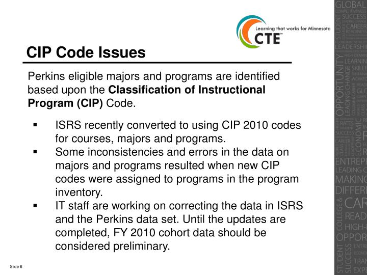 CIP Code Issues