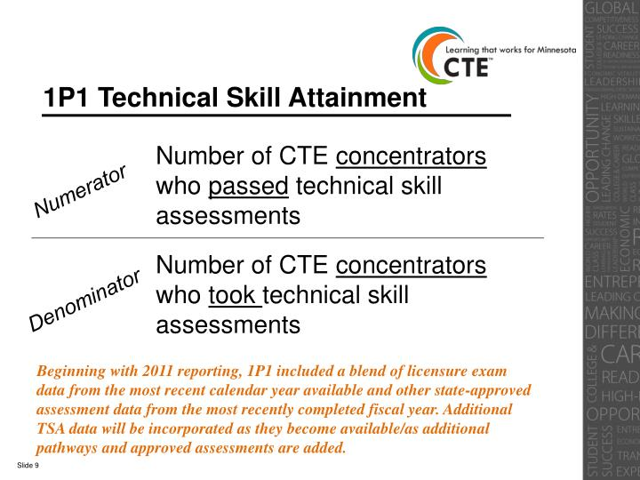 1P1 Technical Skill Attainment