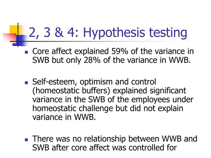2, 3 & 4: Hypothesis testing