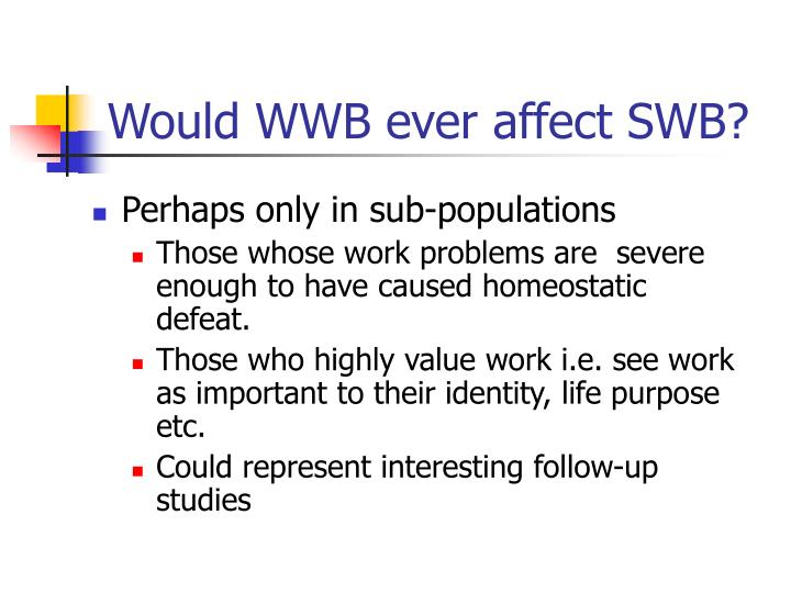 Would WWB ever affect SWB?