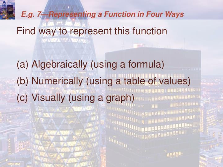 E.g. 7—Representing a Function in Four Ways