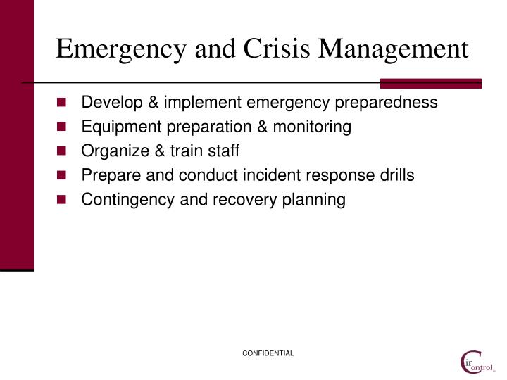 Emergency and Crisis Management