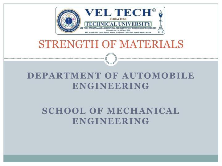 strength of materials n.