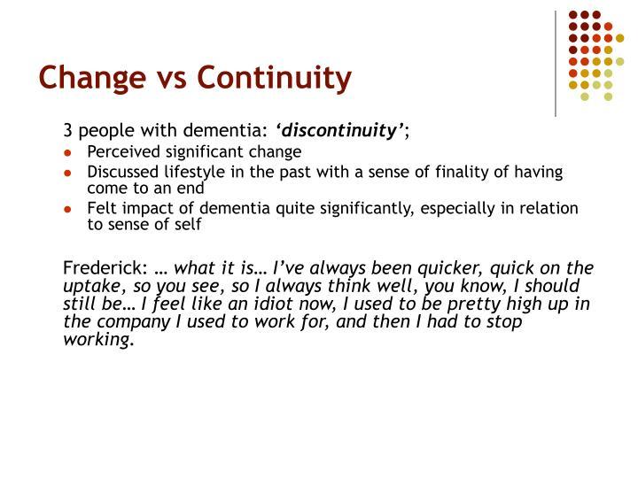 Change vs Continuity