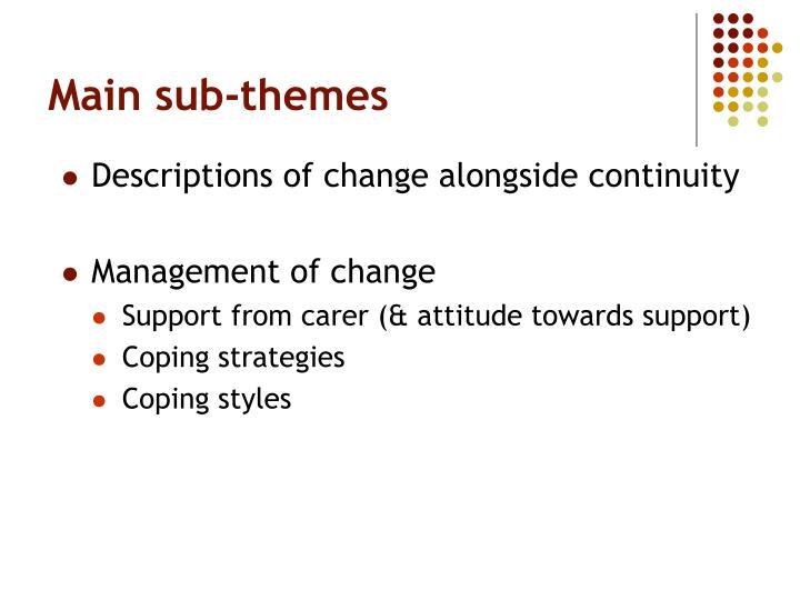 Main sub-themes