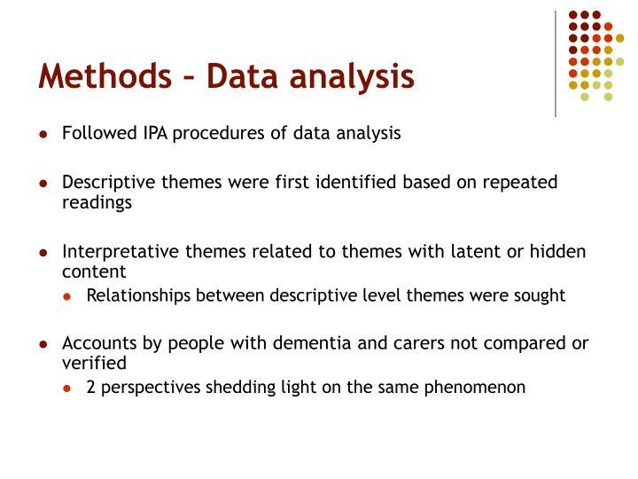 Methods – Data analysis