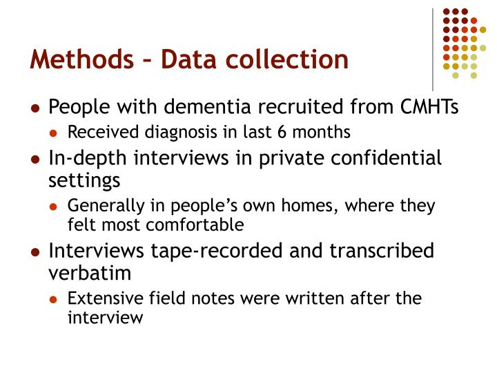 Methods – Data collection