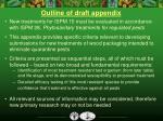 outline of draft appendix