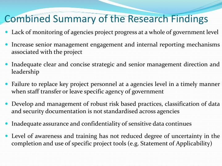 Combined Summary of the Research Findings