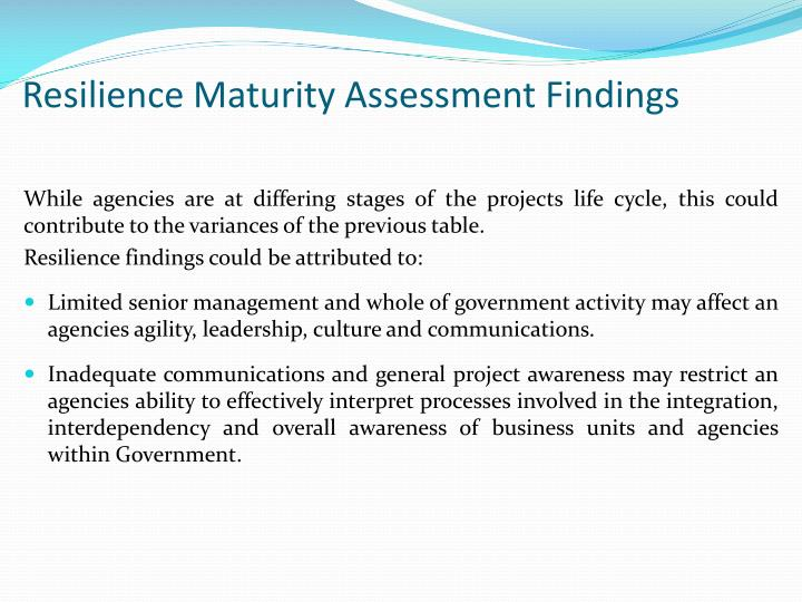 Resilience Maturity Assessment Findings