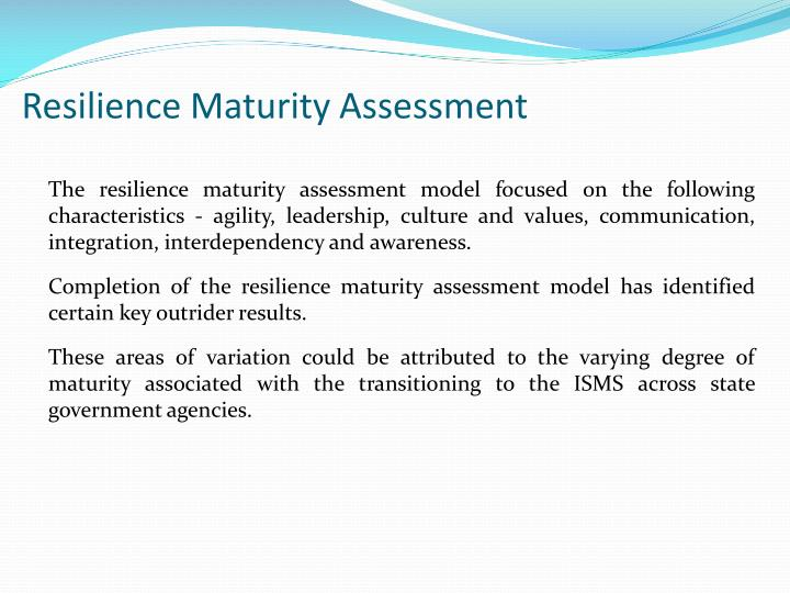 Resilience Maturity Assessment