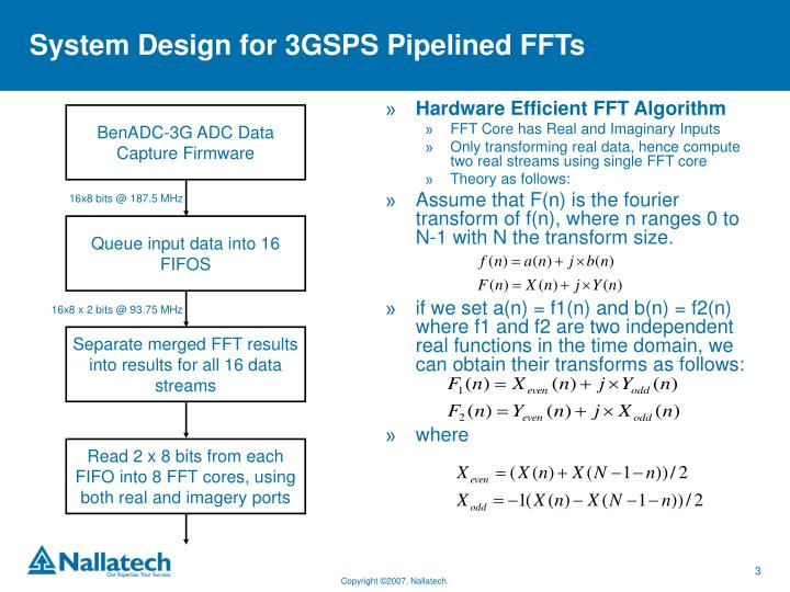 System design for 3gsps pipelined ffts