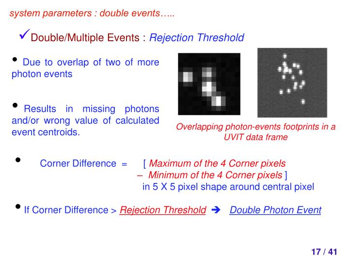 Overlapping photon-events footprints in a UVIT data frame