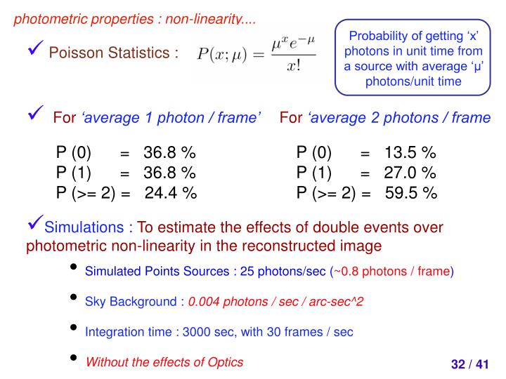 Probability of getting 'x' photons in unit time from a source with average '