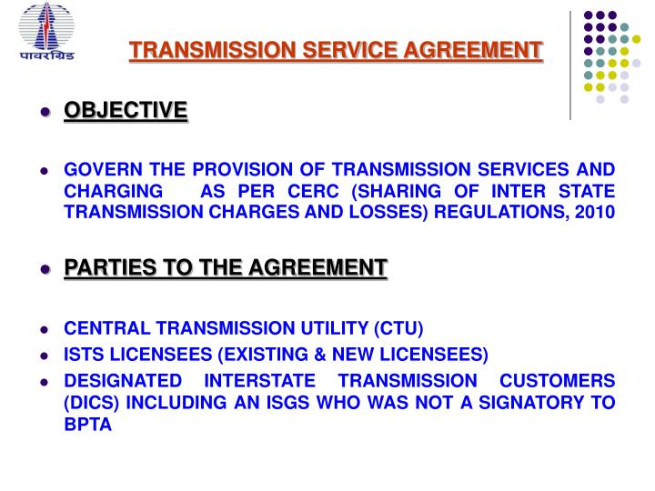 Ppt Transmission Service Agreement By Prashant Sharma Addl