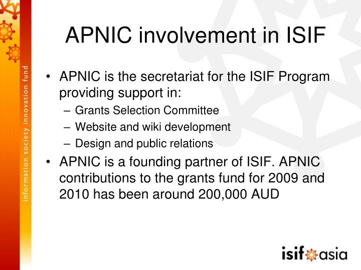 APNIC involvement in ISIF