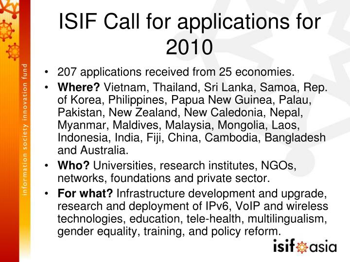 ISIF Call for applications for 2010