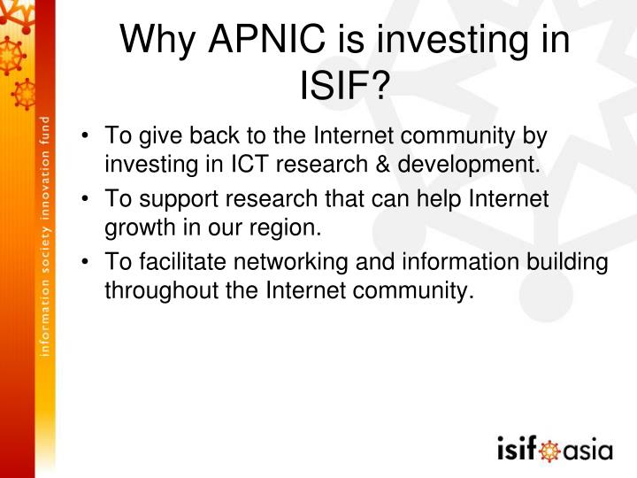 Why APNIC is investing in ISIF?