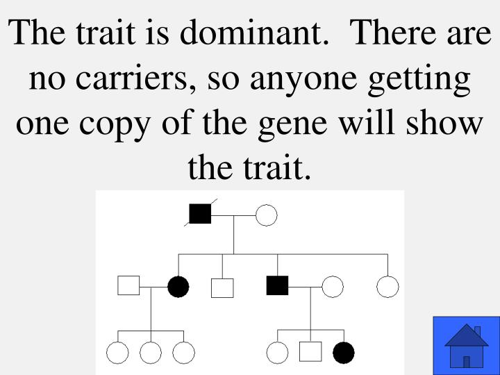 The trait is dominant.  There are no carriers, so anyone getting one copy of the gene will show the trait.