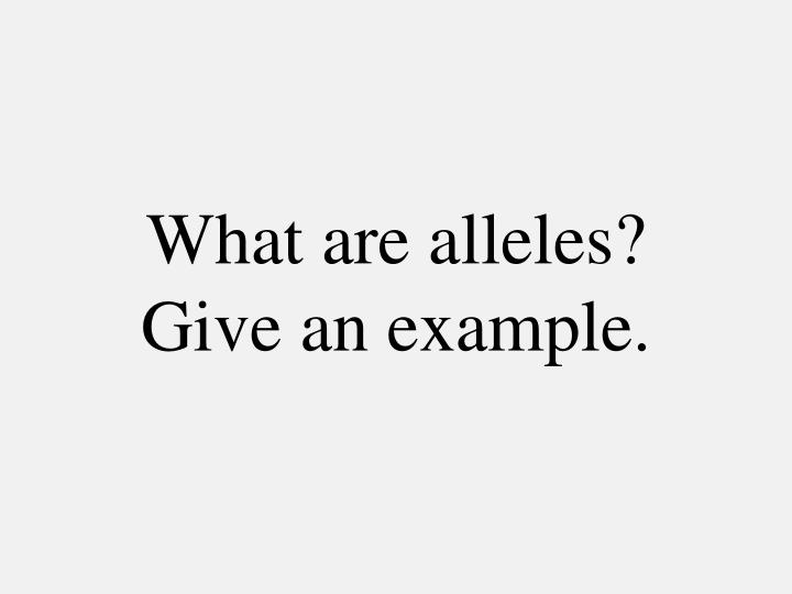 What are alleles?  Give an example.