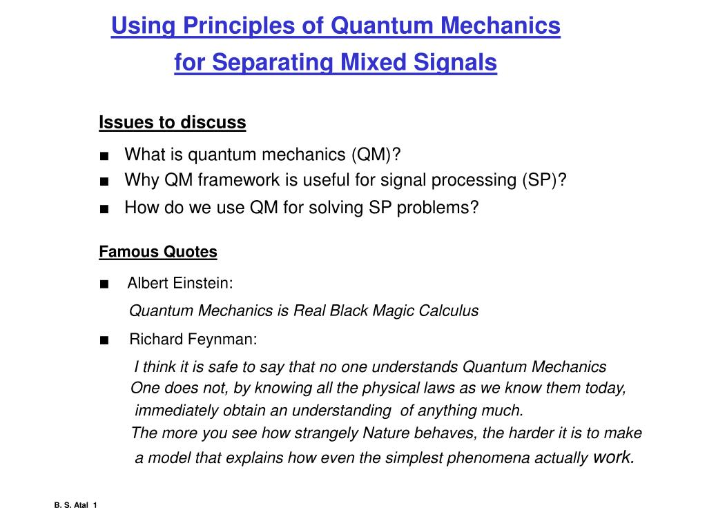 Ppt Using Principles Of Quantum Mechanics For Separating Mixed
