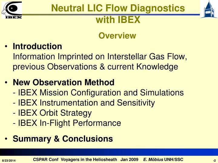 Neutral lic flow diagnostics with ibex