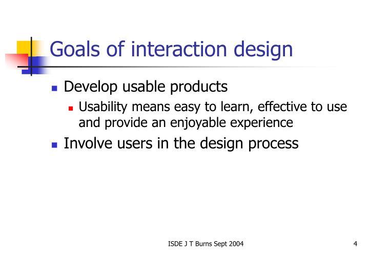 Goals of interaction design