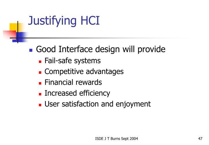 Justifying HCI