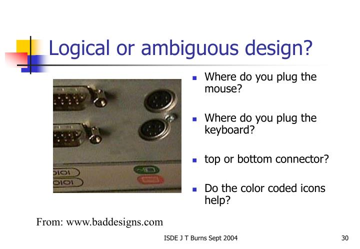 Logical or ambiguous design?