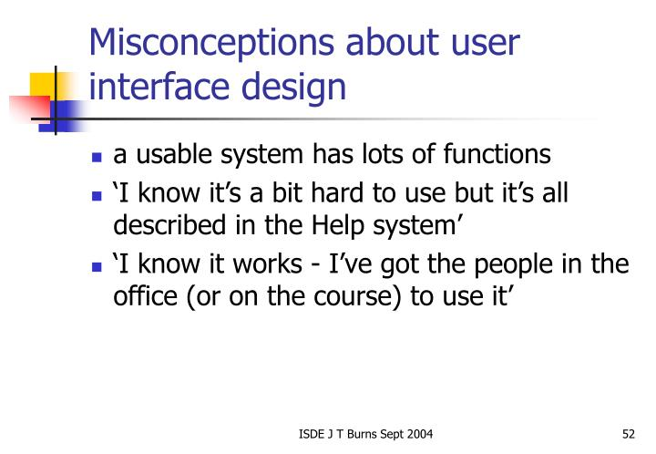Misconceptions about user interface design