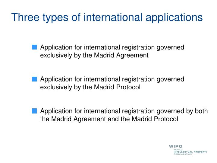 Three types of international applications