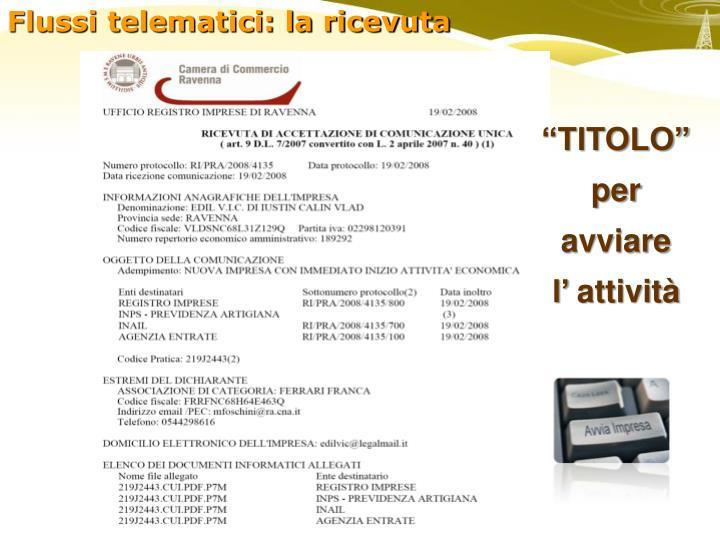 Flussi telematici: la ricevuta
