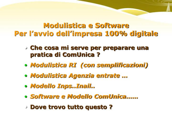 Modulistica e Software