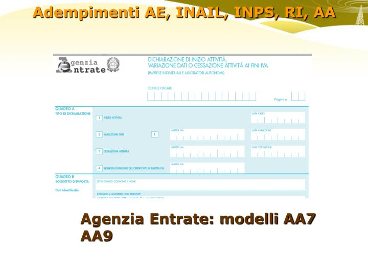 Agenzia Entrate: modelli AA7 AA9