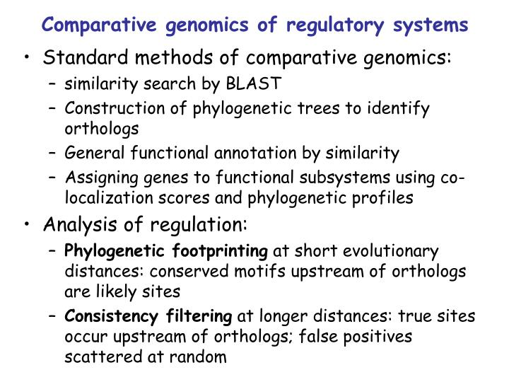 Comparative genomics of regulatory systems