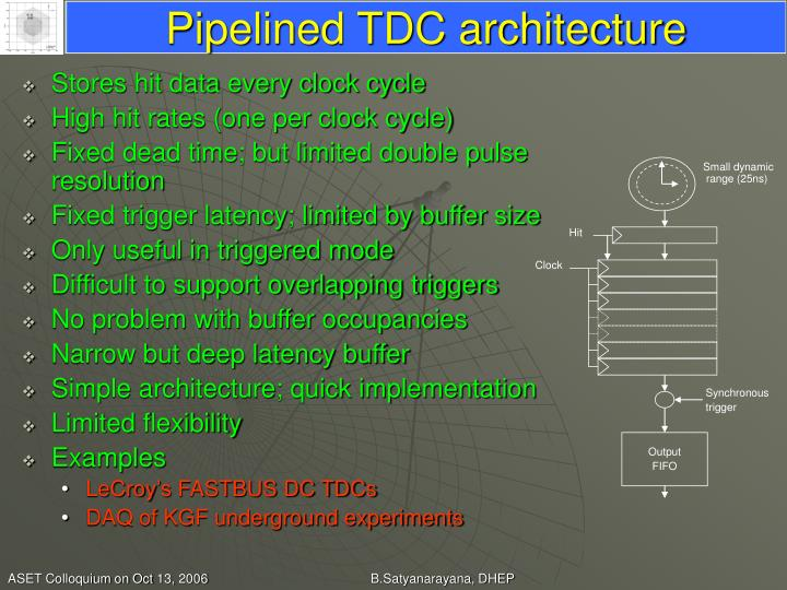 Pipelined TDC architecture