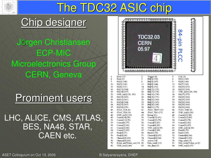 The TDC32 ASIC chip