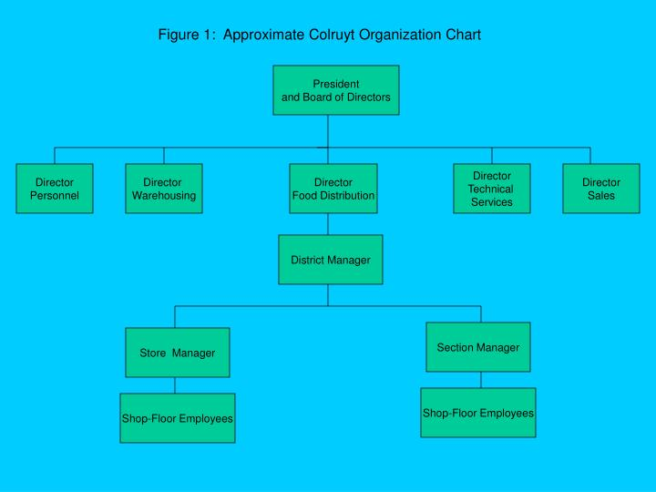 Figure 1:  Approximate Colruyt Organization Chart