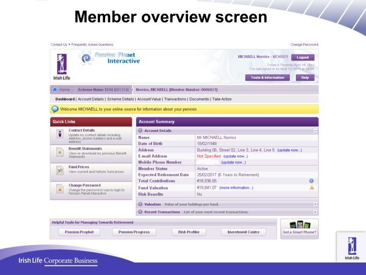 Member overview screen
