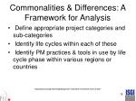 commonalities differences a framework for analysis
